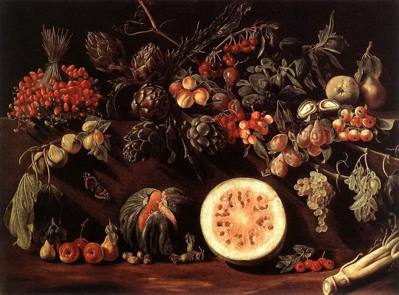 BONZI Pietro Paolo Fruit Vegetables And A Butterfly. The Italian artists