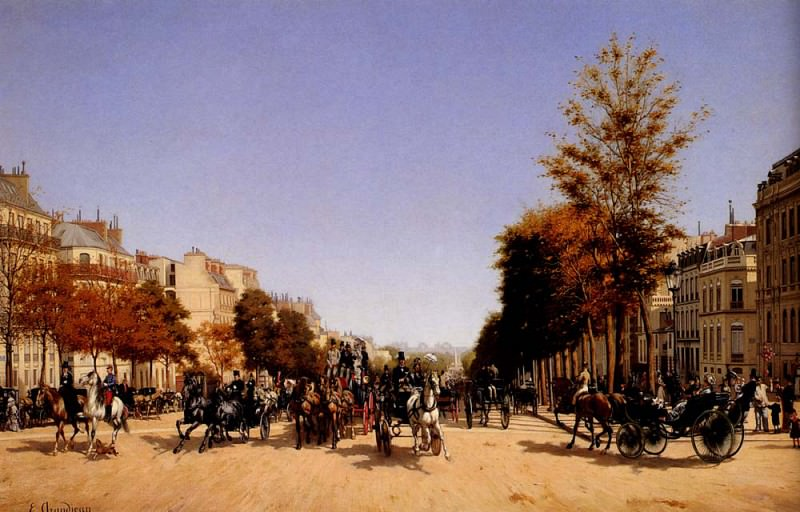 Grandjean Edmond View Of The Champs Elysees From The Place De L Etoile. The Italian artists