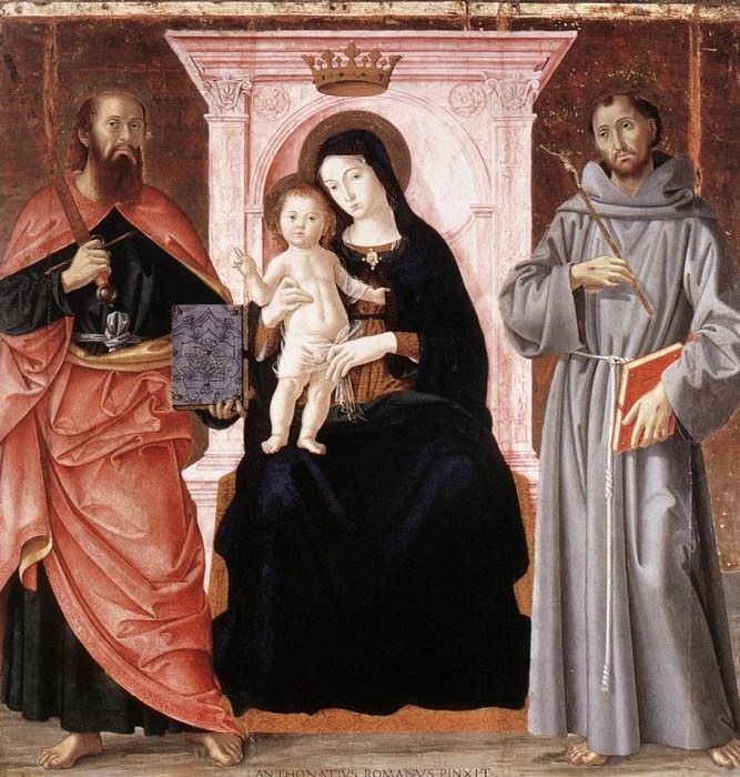 ANTONIAZZO ROMANO Madonna Enthroned With The Infant Christ And Saints. The Italian artists