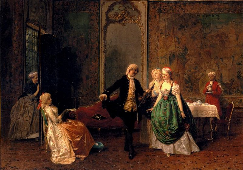 Induno Cavaliere Gerolamo The Dancing Lesson. The Italian artists