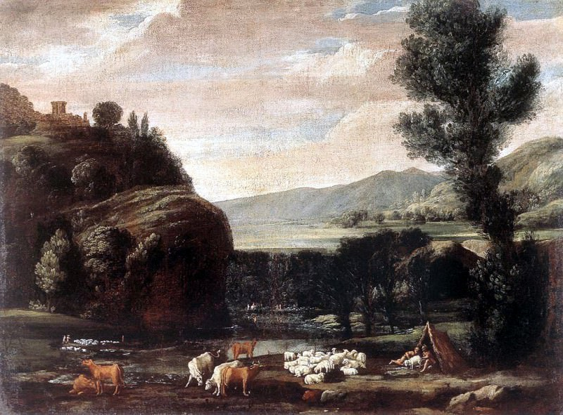 BONZI Pietro Paolo Landscape With Shepherds And Sheep. The Italian artists