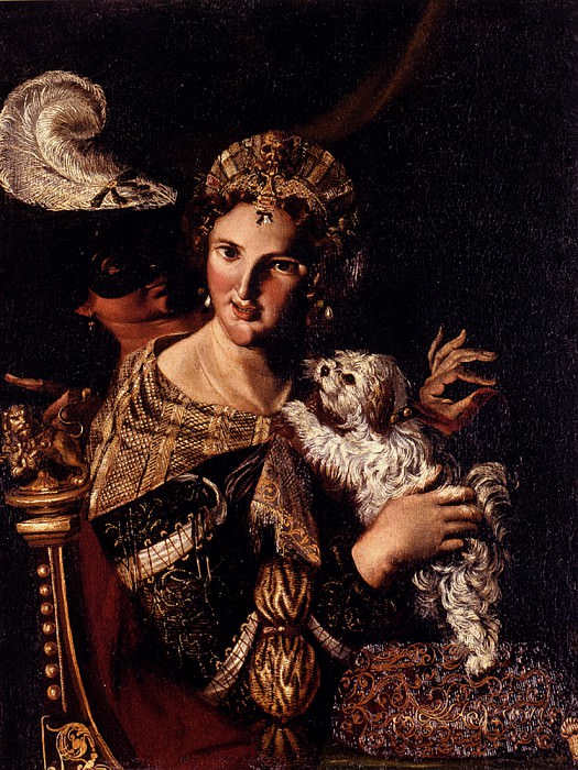 Caroselli Angelo A Lady With Her Dog An Allegory. The Italian artists
