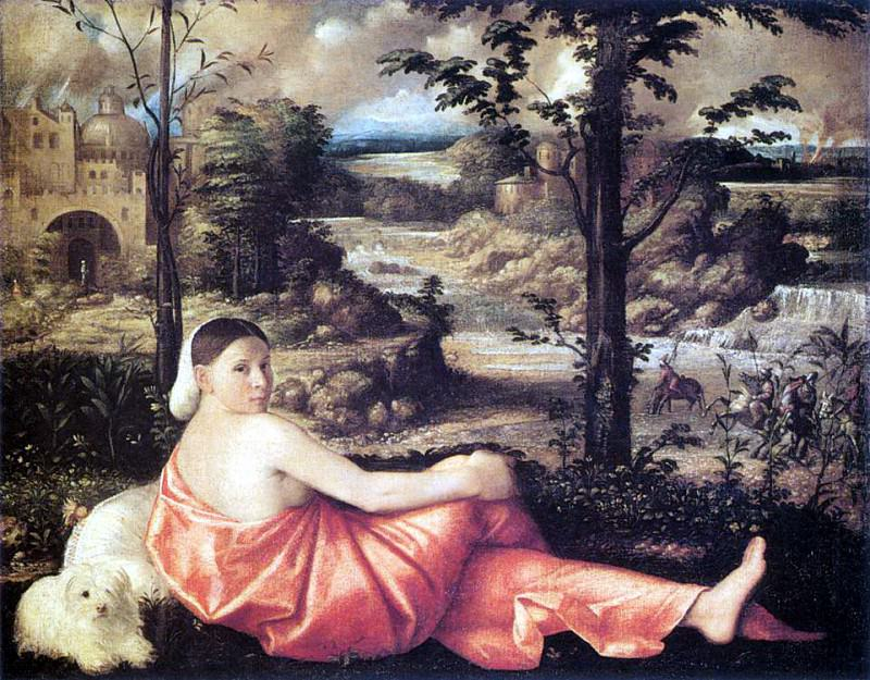 CARIANI Reclining Woman In A Landscape. The Italian artists