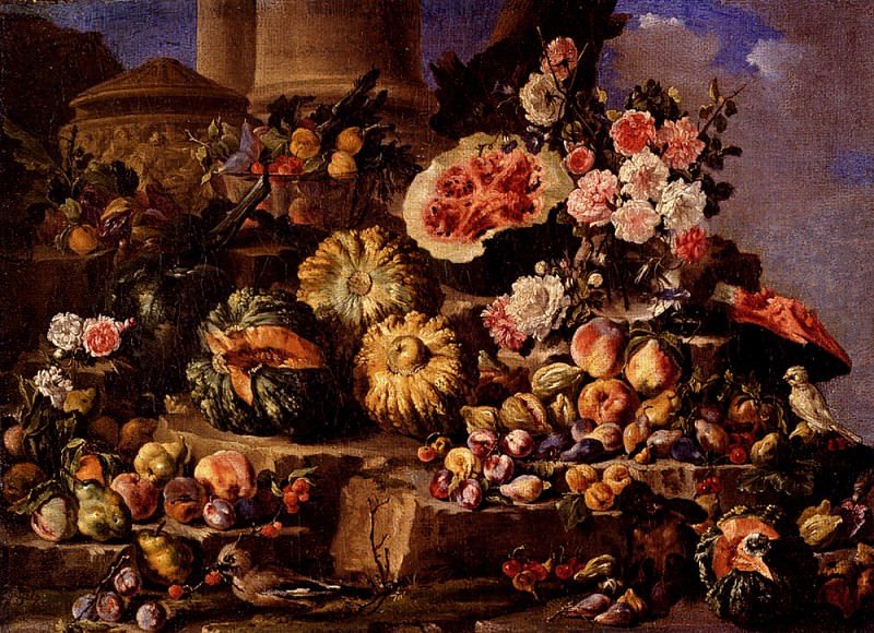 Campidoglio Michele Pace Del Still Life Of Fruit And Flowers On A Stone Ledge With Birds And A Monkey. The Italian artists