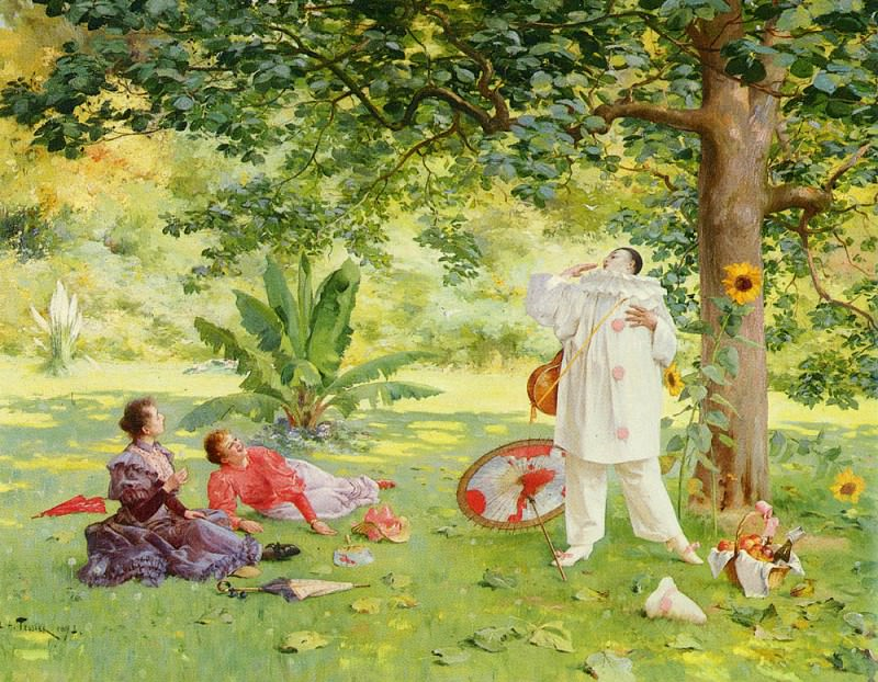 Tessier Louis Adolphe (French) 1855-1911 Pierrot Entertaining In The garden SND 1895 OC 73. 6by91. The Italian artists