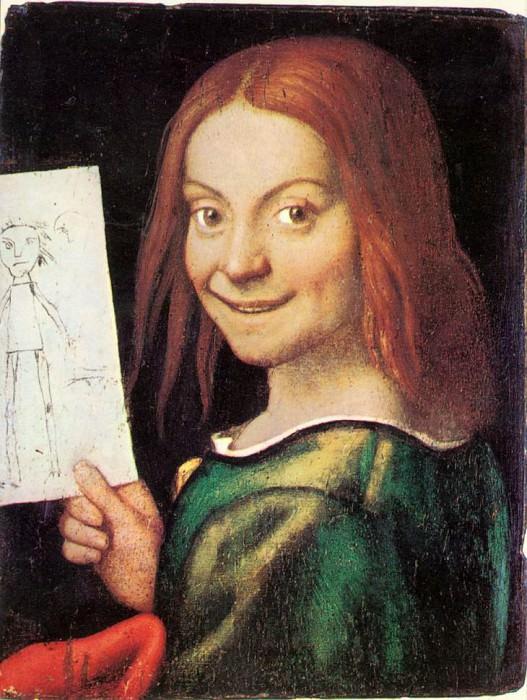 CAROTO Giovanni Francesco Read headed Youth Holding A Drawing. The Italian artists
