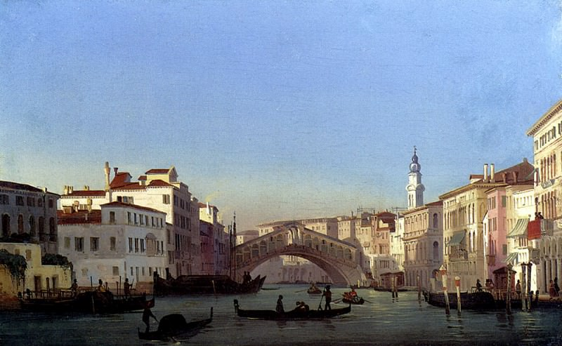 Caffi Ippolito The Rialto Bridge Venice. The Italian artists