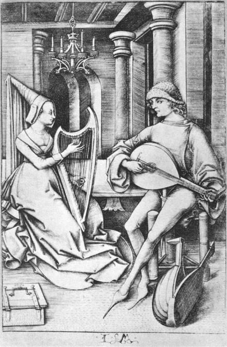 MECKENEM Israhel van the Younger The Lute Player And The Harpist. Итальянские художники