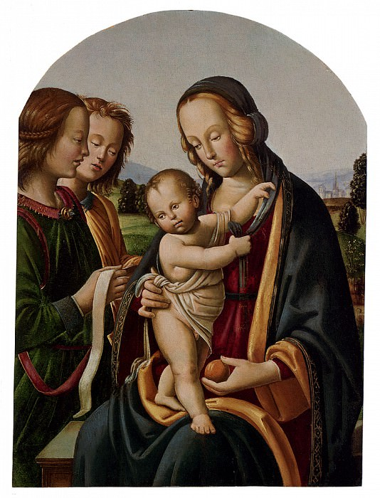 Belforte Giovan Maria Di Bartolomeo Bacci Madonna And Child With Two Angels. The Italian artists