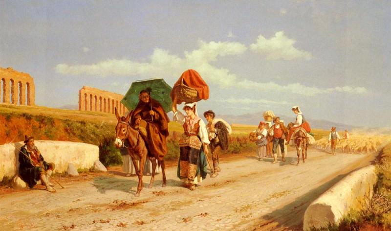 Пьетро Габрини - Путники в Римской Кампанье. Итальянские художники