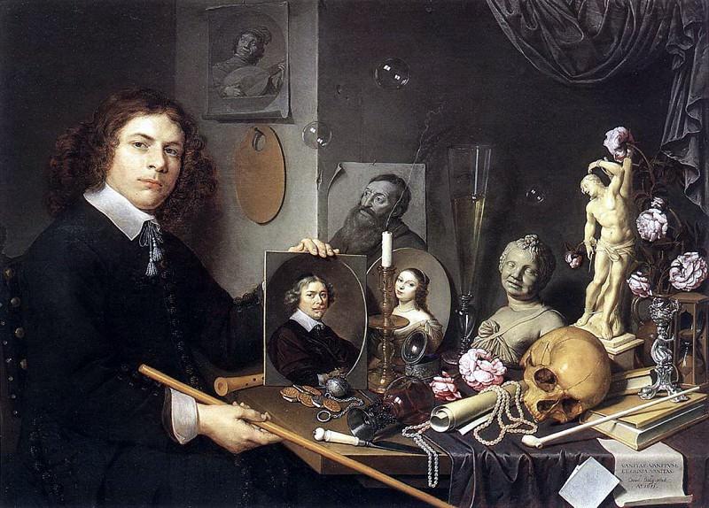 Давид Байи - Автопортрет с символами Ванитас (Vanitas - суета жизни). Итальянские художники