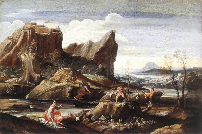 Carracci Antonio Landscape with Bathers. The Italian artists