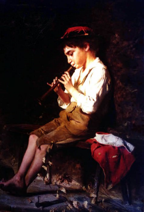 Boy with Recorder. The Italian artists