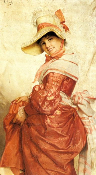 Costa Giovanni A Girl In Red. The Italian artists