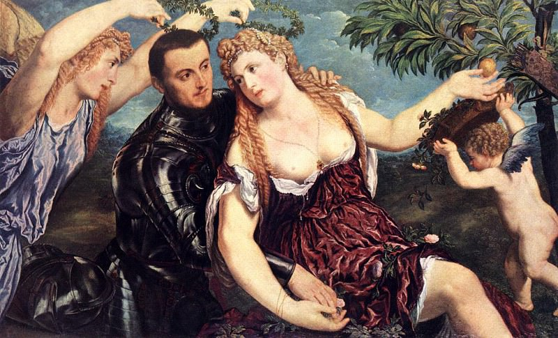 BORDONE Paris Allegory With Lovers. The Italian artists