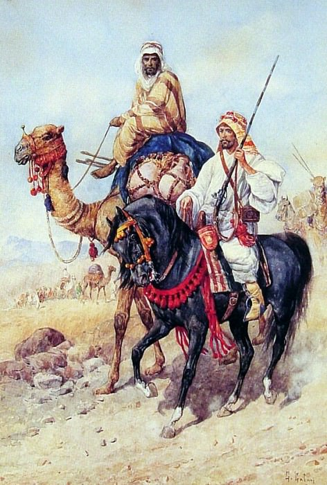 The Arab Caravan. The Italian artists