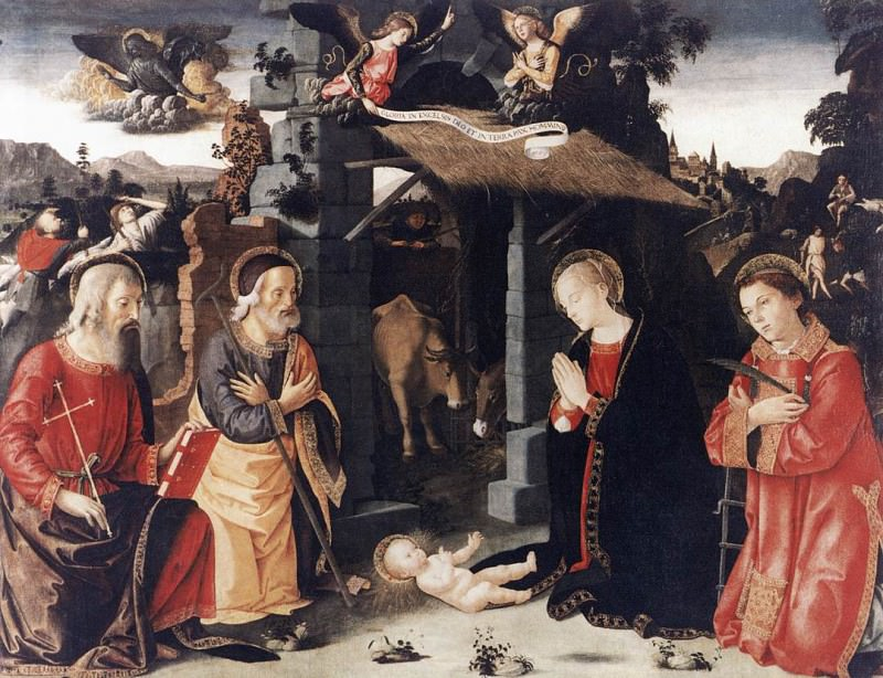 ANTONIAZZO ROMANO Nativity With St Lawrence And Andrew. The Italian artists
