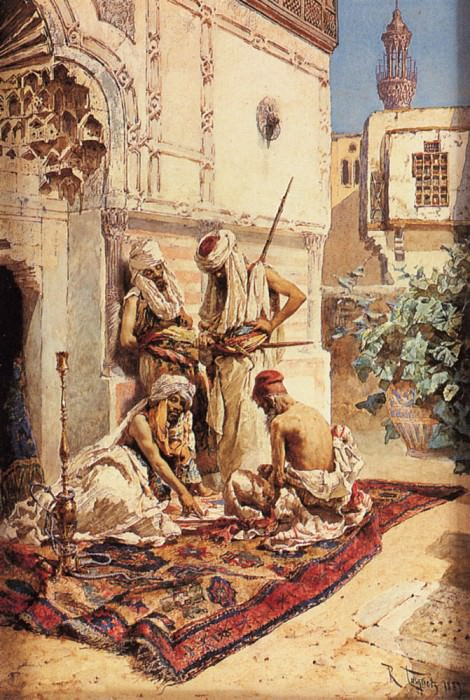 Maignon Ramon Tusquets Y Four Arabs Playing A Game Of Chance. The Italian artists