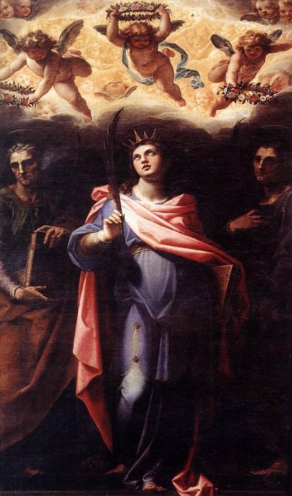 POMARANCIO St Domitilla With Sts Nereus And Achilleus. The Italian artists