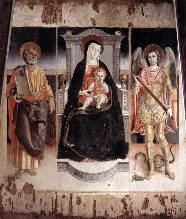 LORENZO DA VITERBO Madonna Enthroned With The Infant Christ St Peter And St Michael. The Italian artists