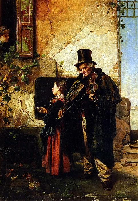 Induno Domenico The Old Musician. Итальянские художники