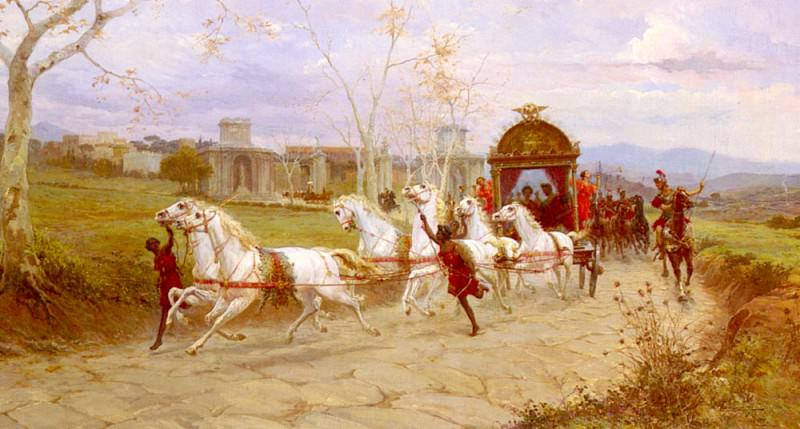 Forti Eduardo Hadrians Departure From The Villa At Tivoli. The Italian artists