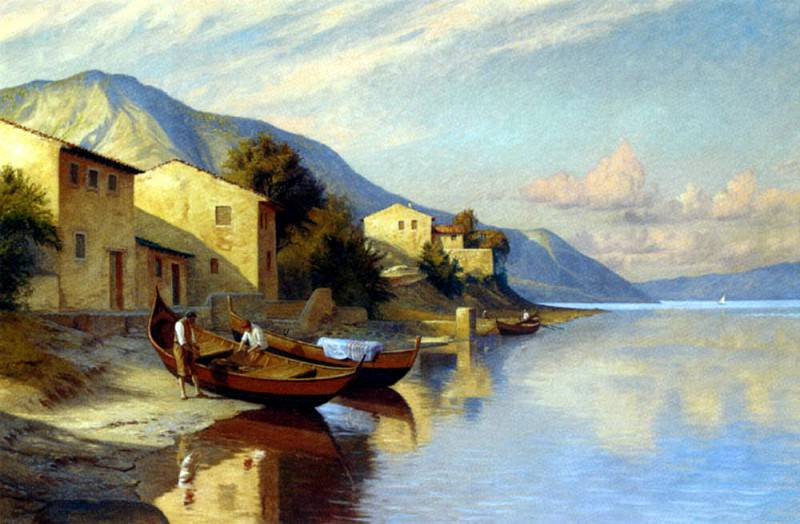 Brinicardi F A Fishing Village. The Italian artists
