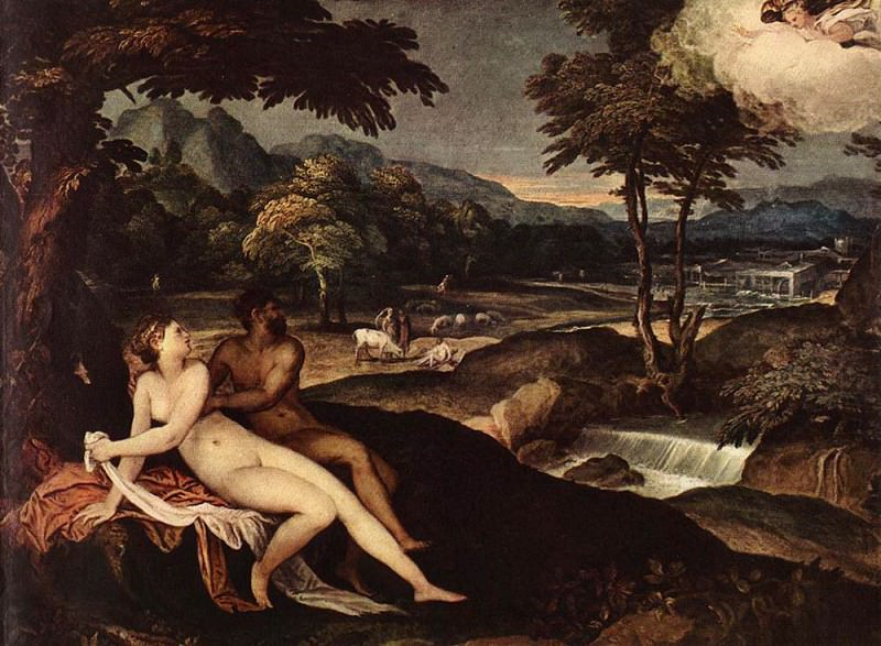 SCHIAVONE Andrea Landscape With Jupiter And Io. The Italian artists