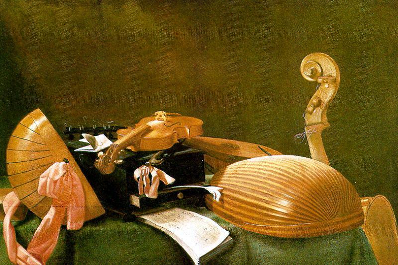 Baschenis, Evaristo (Italian, 1617-1677) Evaristo Still Life With Musical Instruments. The Italian artists