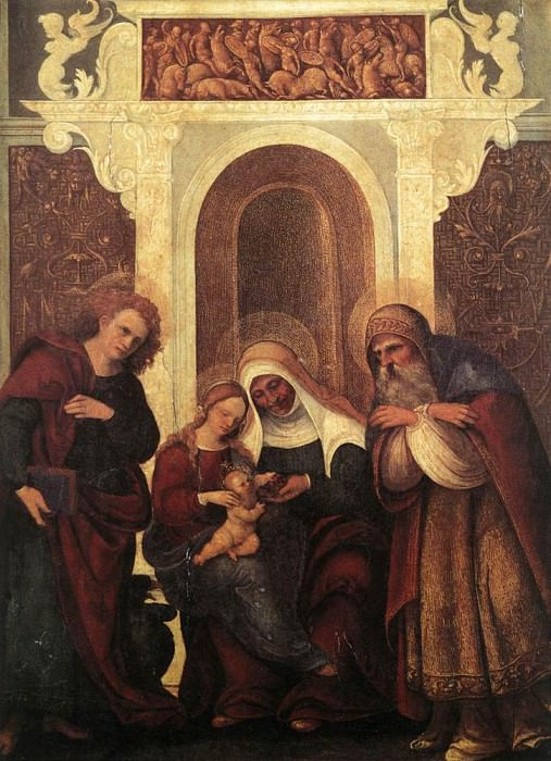 MAZZOLINO Ludovico Madonna And Child With Saints. The Italian artists