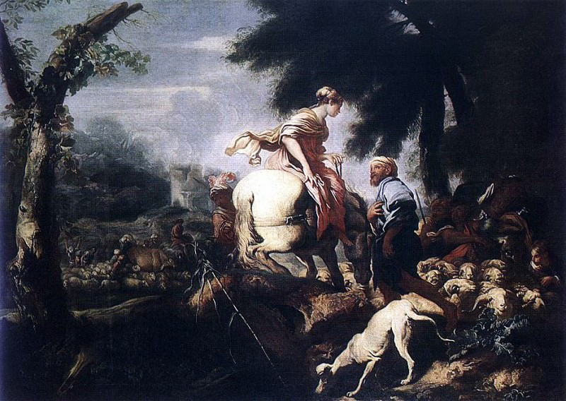 CASTIGLIONE Giovanni Benedetto Meeting Of Isaac And Rebecca. The Italian artists
