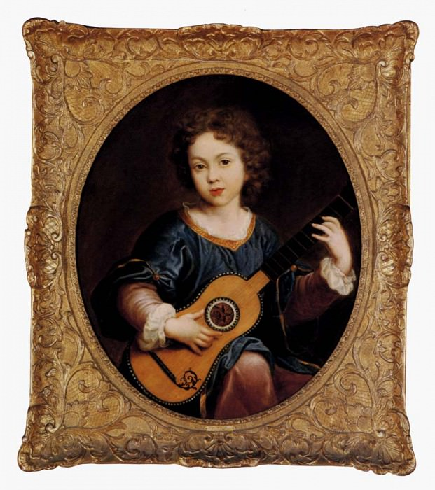 Mignard Pierre A Young Girl Playing A Guitar. The Italian artists