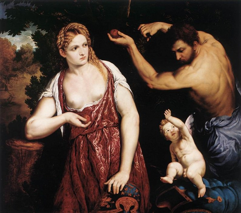 BORDONE Paris Venus And Mars With Cupid. The Italian artists