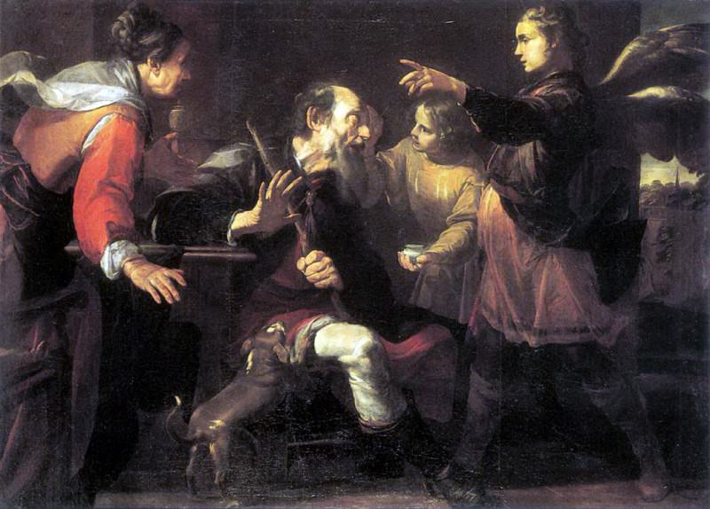 ASSERETO Gioachino Tobias Healing The Blindness Of His Father. The Italian artists