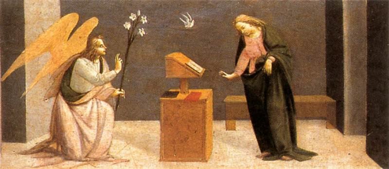 BARTOLOMEO DI GIOVANNI Predella Annunciation. The Italian artists