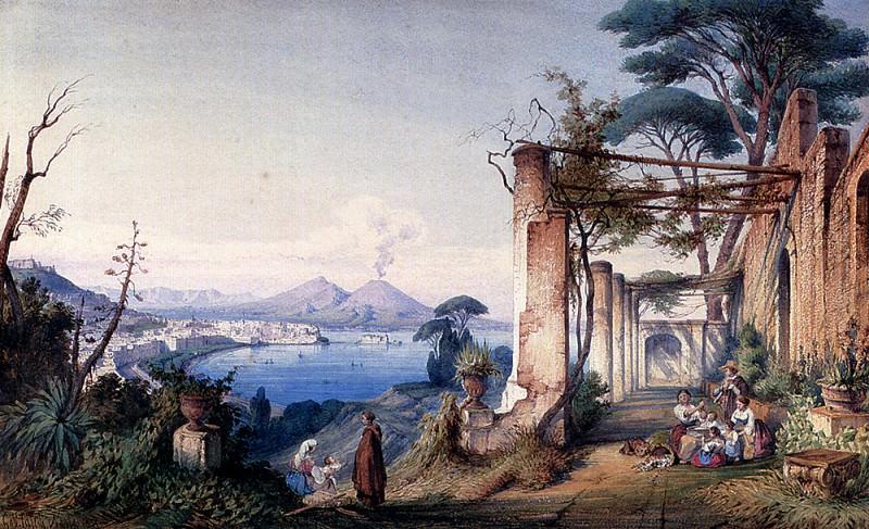 Carelli Gabriele Il Gulfo Di Napoli Con Il Vesuvio Sullo Sfondo. Итальянские художники