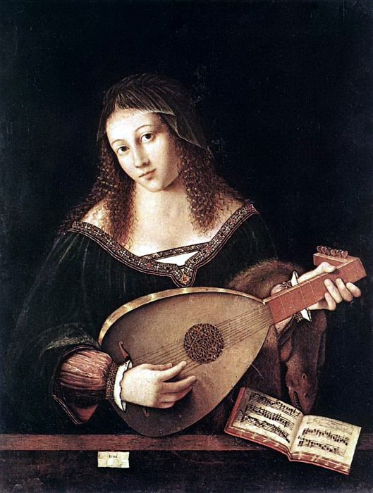 BARTOLOMEO VENETO Woman Playing A Lute. The Italian artists