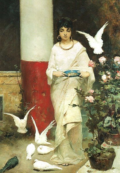 Girl with pigeons. GTG. Kotarbinski William A.