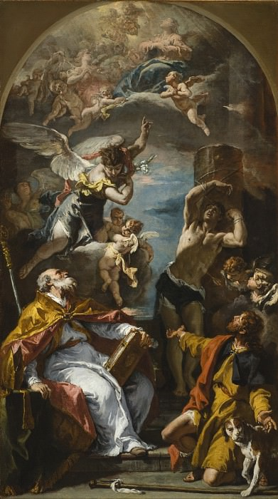 Sebastiano Ricci - A Glory of the Virgin with the Archangel Gabriel and Saints Eusebius, Roch, and Sebastian. Los Angeles County Museum of Art (LACMA)