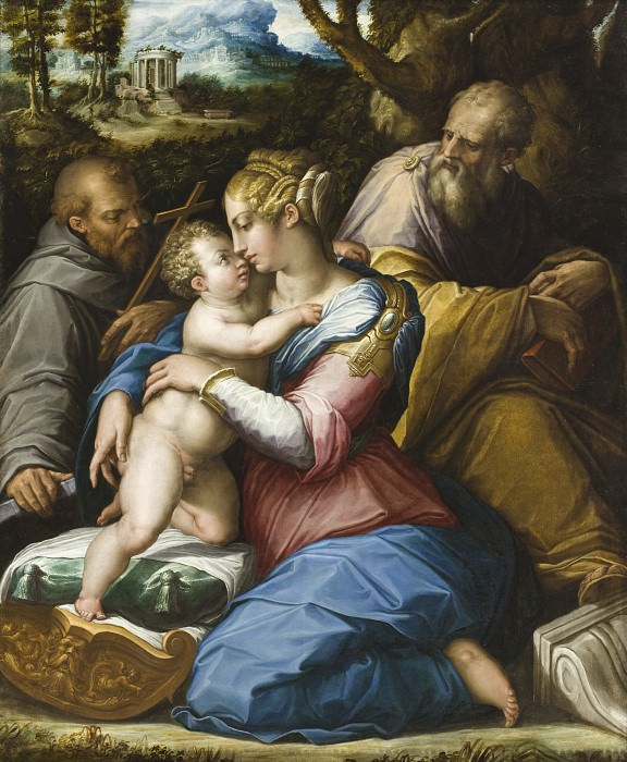 Giorgio Vasari - Holy Family with Saint Francis in a Landscape. Los Angeles County Museum of Art (LACMA)