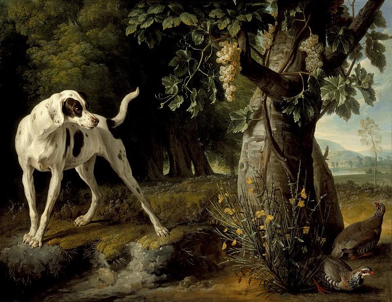 Депорт, Александр Франсуа - Пейзаж с собакой и куропатками. Окружной художественный музей (LACMA) ~ Лос-Анджелес