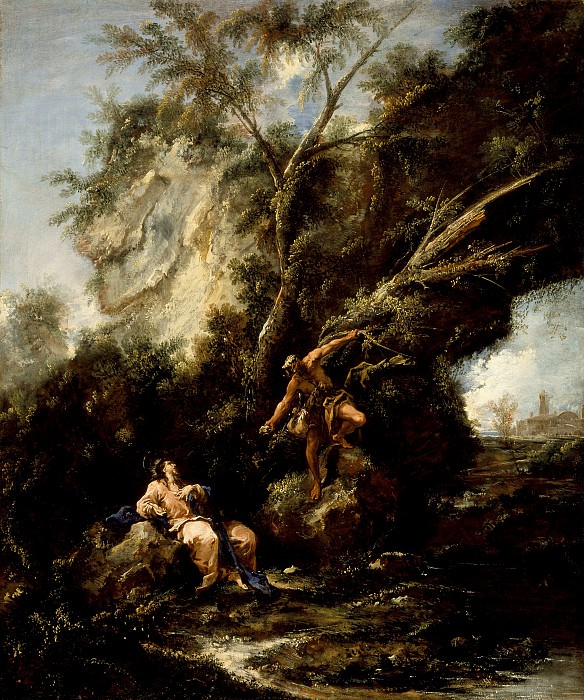 Magnasco, Alessandro; Peruzzini, Antonio Francesco - Landscape with the Temptation of Christ. Los Angeles County Museum of Art (LACMA)