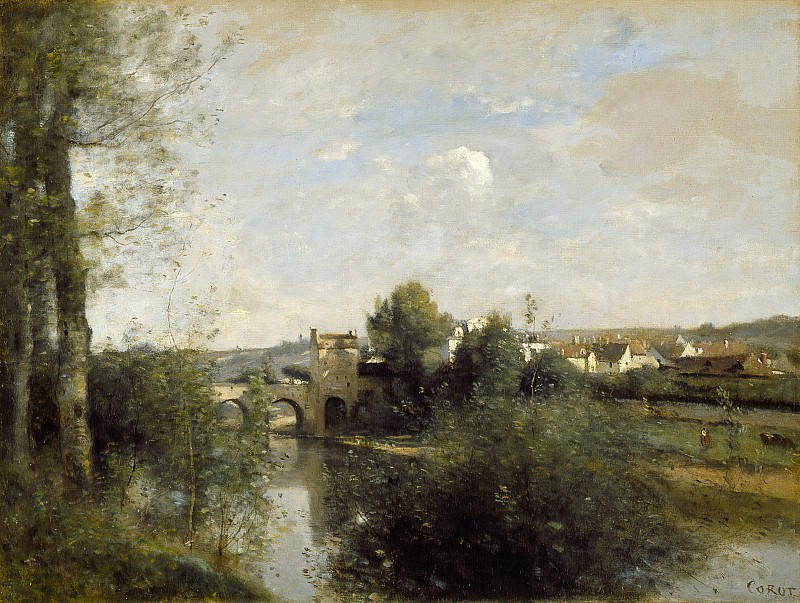 Jean-Baptiste-Camille Corot - Seine and Old Bridge at Limay. Los Angeles County Museum of Art (LACMA)