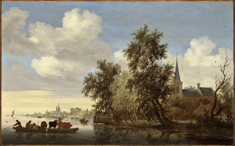 Salomon Jacobsz van Ruysdael - River Landscape with a Ferry. Los Angeles County Museum of Art (LACMA)