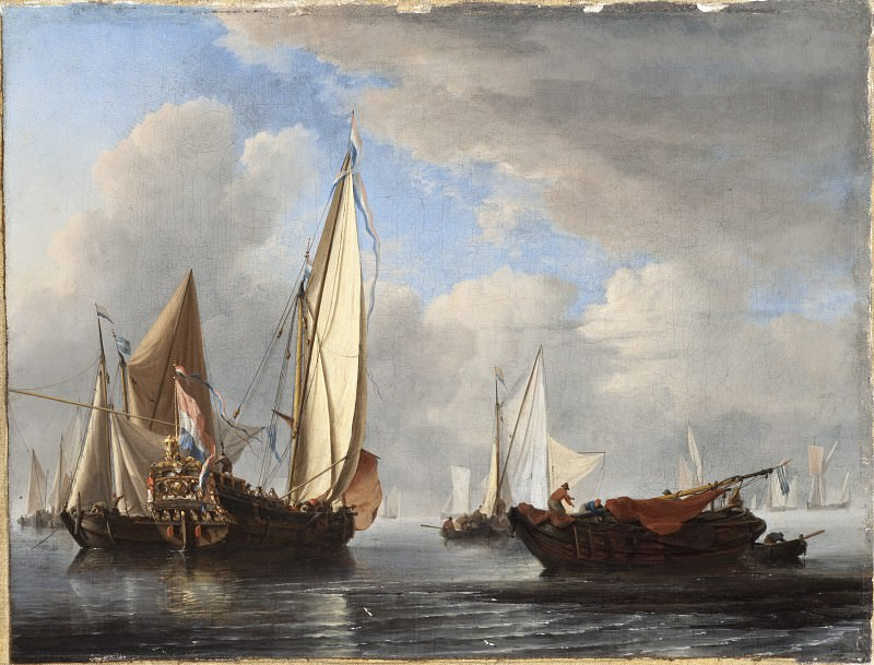 Willem van de Velde the Younger - A Yacht and Other Vessels in a Calm. Los Angeles County Museum of Art (LACMA)