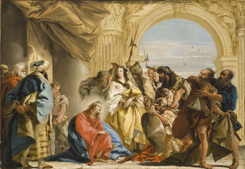 Giovanni Domenico Tiepolo - Christ and the Woman taken in Adultery. Los Angeles County Museum of Art (LACMA)