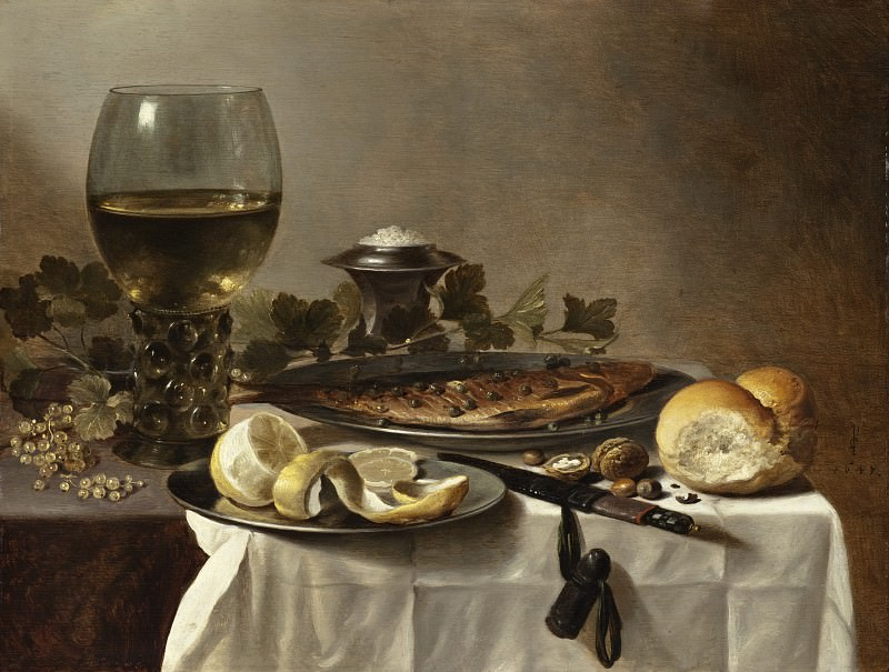 Pieter Claesz III - Still Life with Herring, Wine and Bread. Los Angeles County Museum of Art (LACMA)