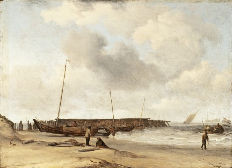 Willem van de Velde the Younger - Beach with a Weyschuit Pulled up on Shore. Los Angeles County Museum of Art (LACMA)