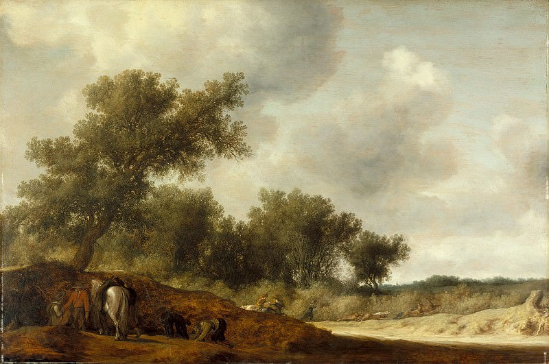 Salomon Jacobsz van Ruysdael - Landscape with Deer Hunters. Los Angeles County Museum of Art (LACMA)