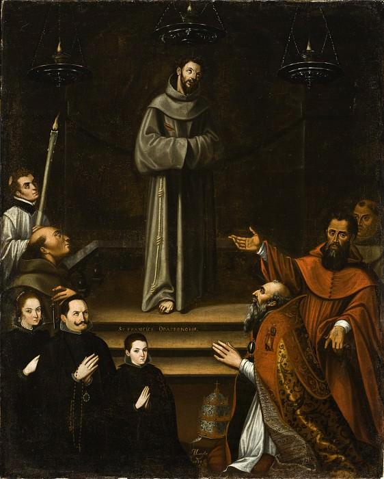Антонио Монтуфар - Св. Франциск Ассизский, явившийся с донаторами перед Папой Николасом V. LACMA (Лос Анджелес)